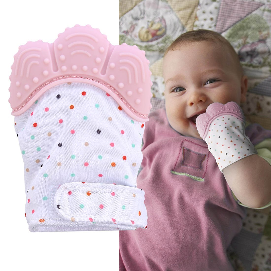 Baby Silicone Teething Mitten Self Soothing Teether Glove
