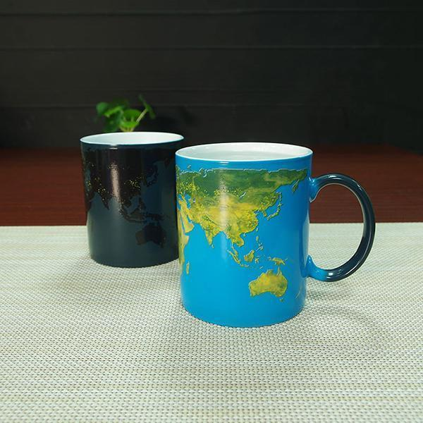 sterdio.com Home & Garden Color Changing Magic Cup with World Map Pattern