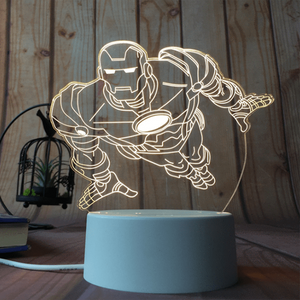 sterdio.com Home & Garden US Plug / Iron Man 3D Optical Illusion Desk Lamp Unique Night Light for Home Decor