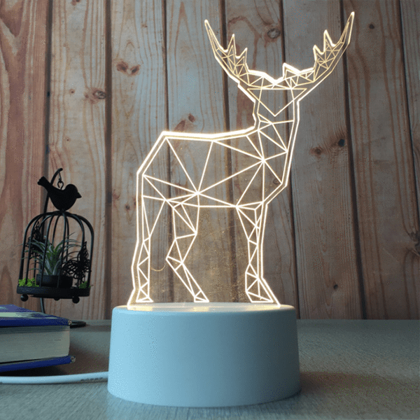 sterdio.com Home & Garden US Plug / Stag 3D Optical Illusion Desk Lamp Unique Night Light for Home Decor
