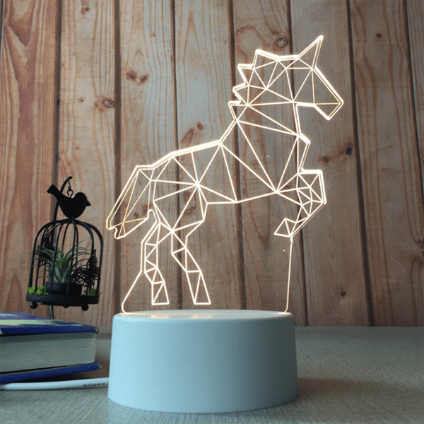 sterdio.com Home & Garden US Plug / Unicorn 3D Optical Illusion Desk Lamp Unique Night Light for Home Decor