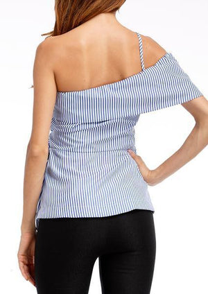 sterdio.com Tanks Blue Stripe Knitted Halter Tank
