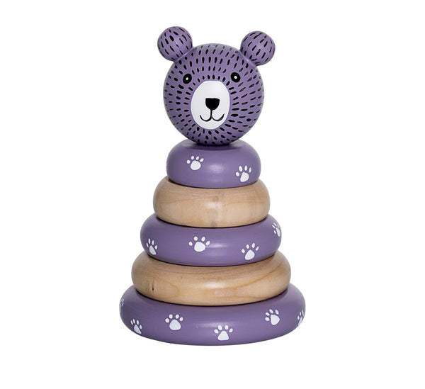 Stacking Toy - purple lotus-Wooden stacking toy-Bloomingville-jellyfishkids.com.cy