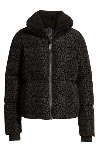 MACKAGE - Madalyn Navy Leopard Short Down Coat