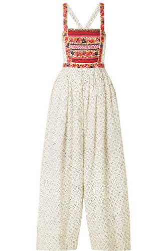 ULLA JOHNSON - Razi Wide Leg Folk Print Jumpsuit