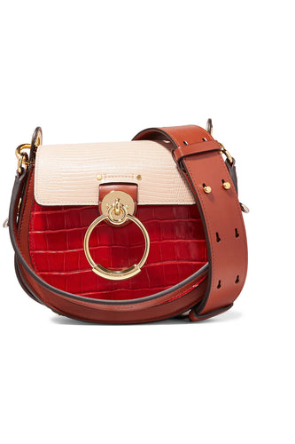 CHLOE - Tess Small Croc Pink and Red Colorblock Bag