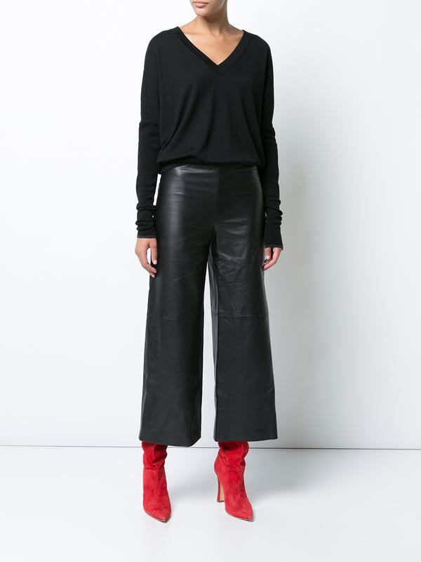 Leather Cropped Pant