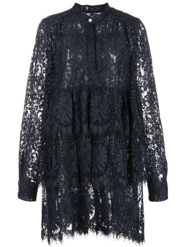 ADAM LIPPES - Corded Lace Tiered Ruffled Mini Dress