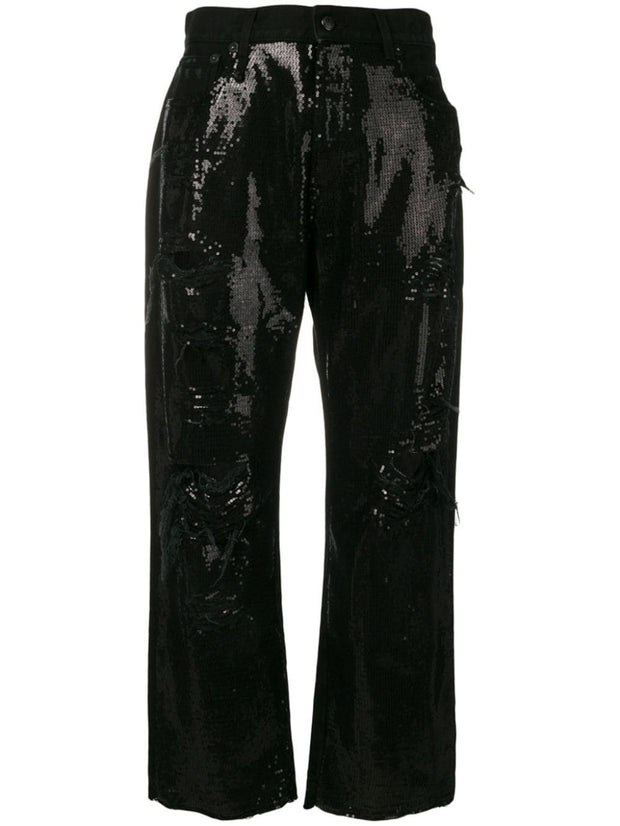R13 - Black Sequin Boyfriend Jeans