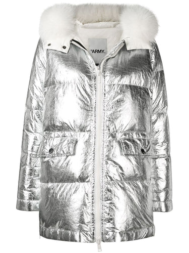 YVES SALOMON ARMY - Silver Long Puffer Coat