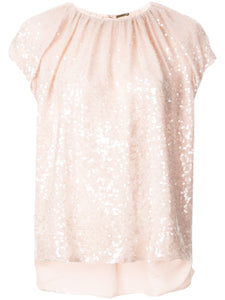 ADAM LIPPES - Blush Embroidered Top In Sequin