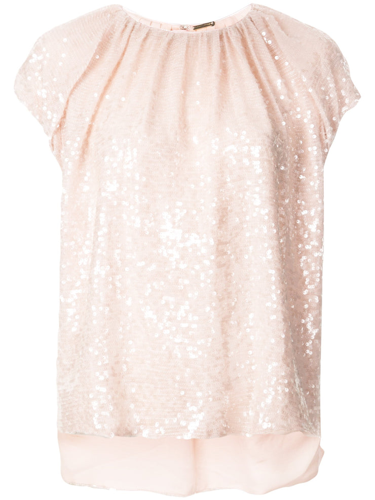 Blush Embroidered Top In Sequin