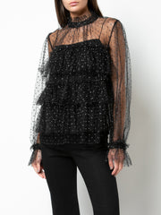 ADAM LIPPES - Point Desprit Tiered Ruffle Blouse