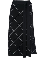 Windowpane Wrap Knit Skirt