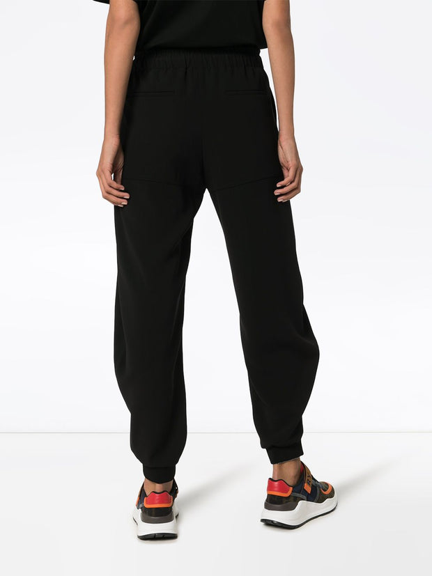 Satin Black Crepe Track Pants