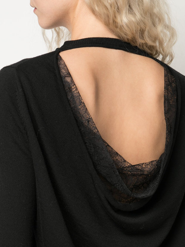 Drape Back Lace Knit