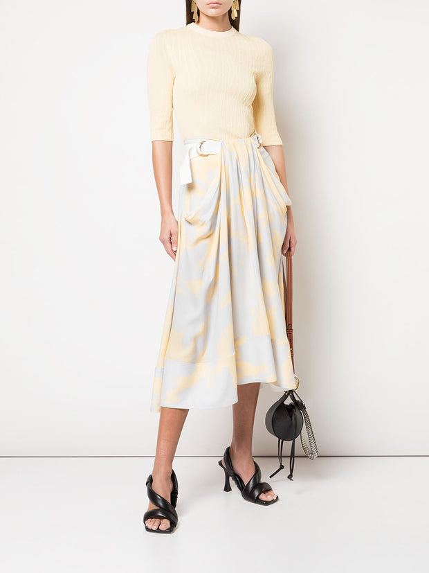 PRINTED GEORGETTE MIDI SKIRT