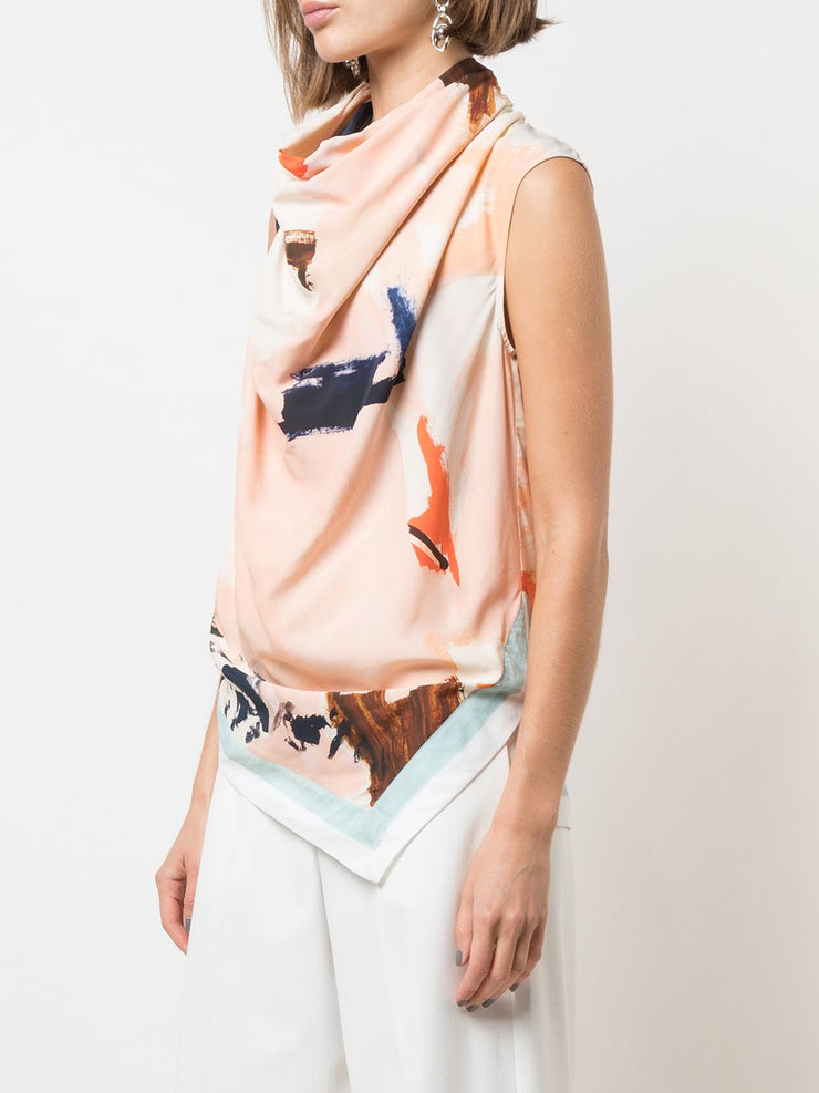 PRINTED SL COWL NECK TOP