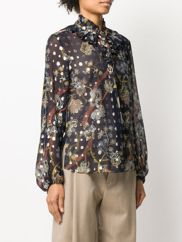 Flower Lurex Blouse