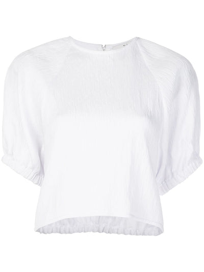 TIBI - Viscose Shirred Sleeve Top