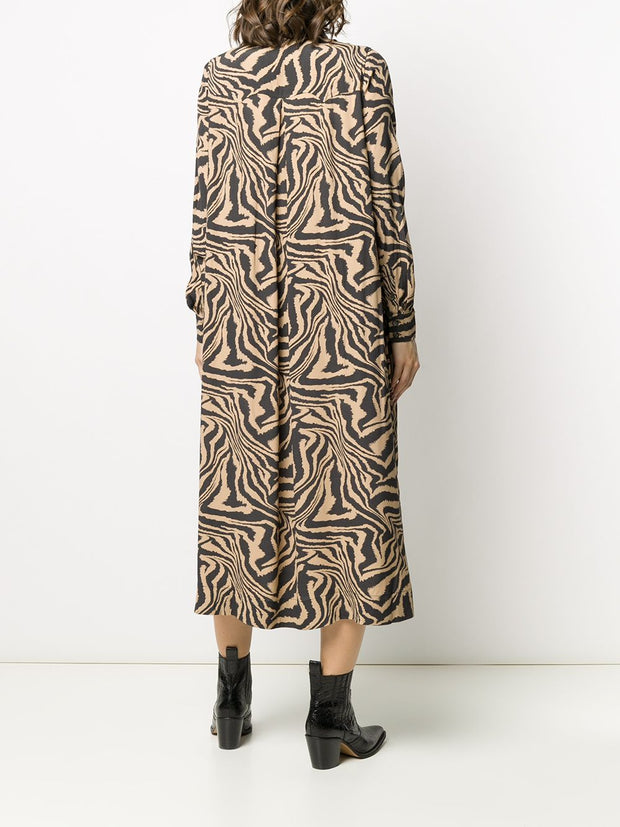 Prints Long Sleeve Loose Midi Dress
