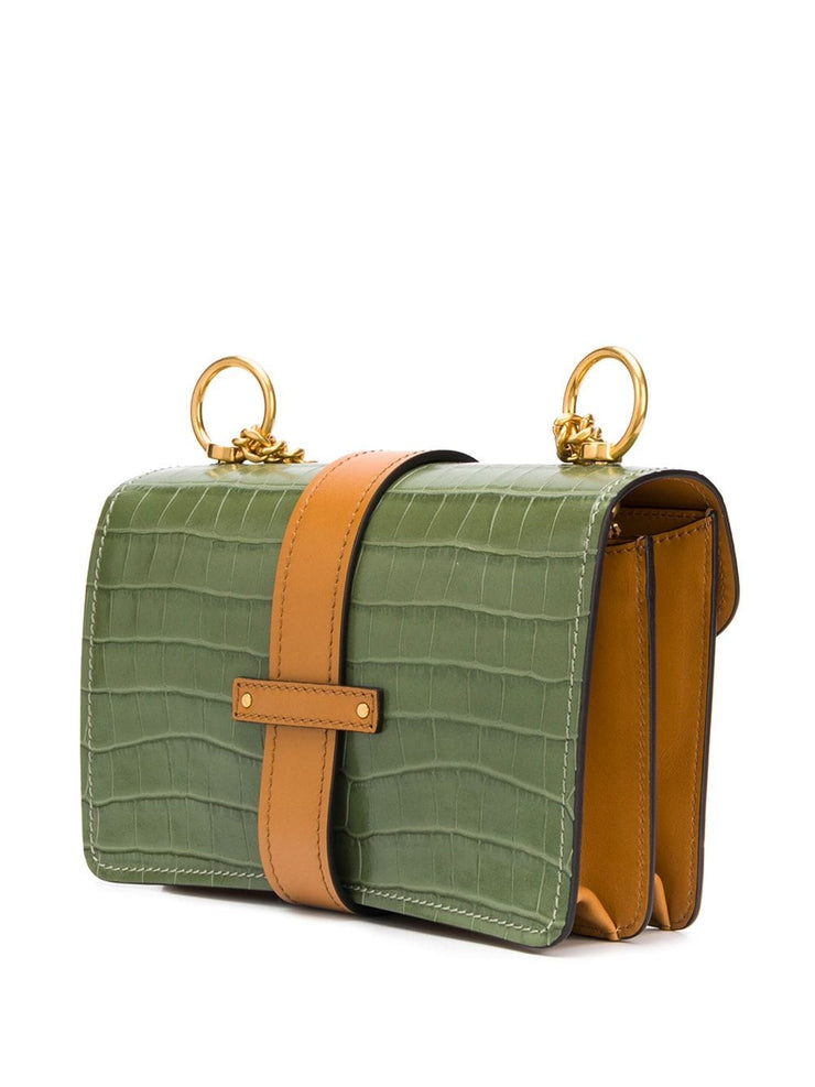 CHLOÉ - Aby Chain Med Croc Canvas Misty Forest