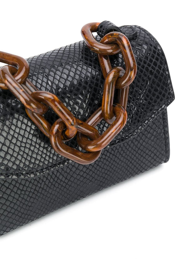 Black Leather Chain Strap Bag Black