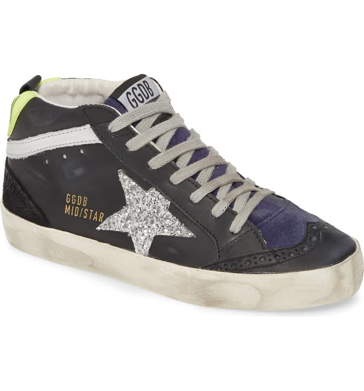 GOLDEN GOOSE - Black Silver Mid Sneaker Star