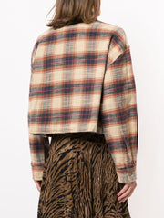 Oversized Shirt Beige Plaid