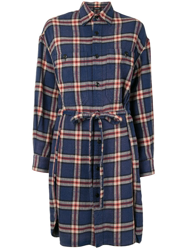 Oversized Shirt Dress Navy Plaid
