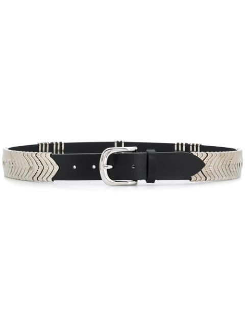 TEHORA Metal Detail Leather Belt