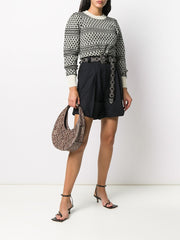 NEWTON B/W Ruched Shoulder Sweater