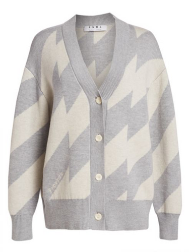 PROENZA SCHOULER - PSWL Oversized Grey Chevron Cardigan Sweater
