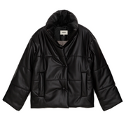 Black quilted jacket laying flat agains a white background.