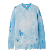 Light blue sweater laid flat against a white background. Sweater has rips and tears and stressing around the neckline, sleeves, hemline and throughout.