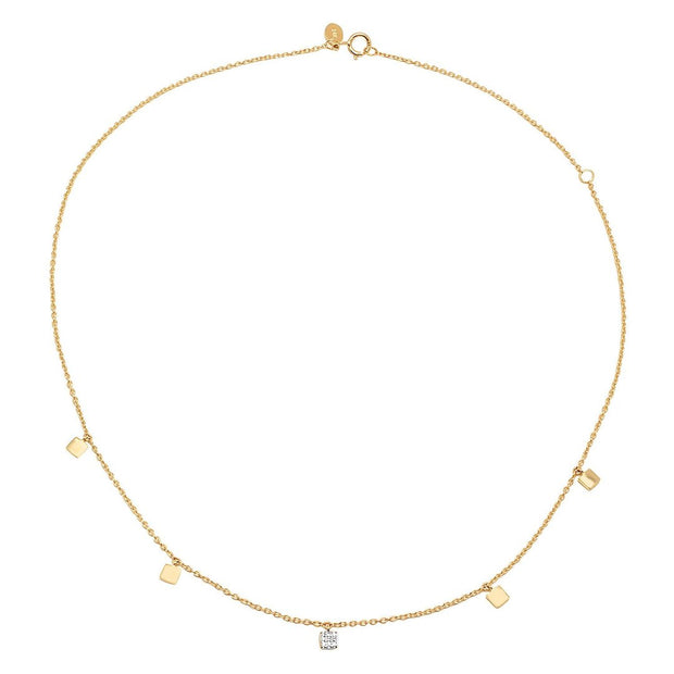 ERINESS - MINI SQUARE NECKLACE WITH SINGLE DIAMOND