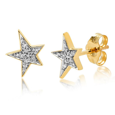 ERINESS - 14K Yellow Gold Diamond Star Studs