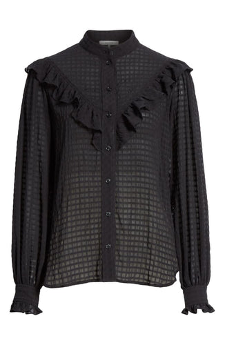GANNI - Black Ruffle Detail Seersucker Shirt