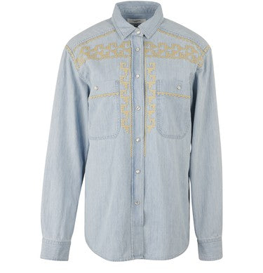 Light blue denim button down with embroidery on the chest and shoulders laid flat against a white background.