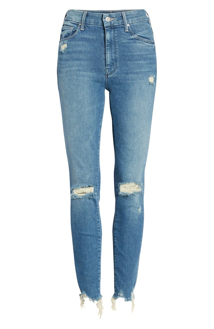 MOTHER - The Looker High Waist Fray Ankle Skinny Jeans