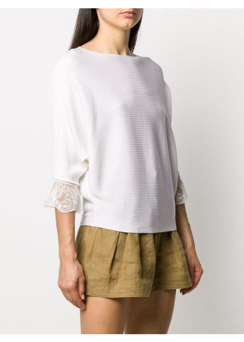 Ribbed-knit sweater with tulle accents