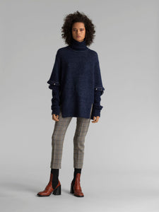 CHLOE - Turtleneck Sweater with Button Sleeves