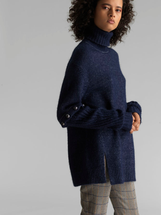 Turtleneck Sweater with Button Sleeves