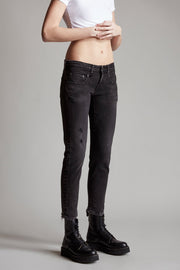 R13 - Boy Skinny Raven Black with Rips