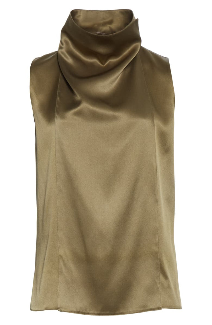 Draped Silk Charmeuse Top