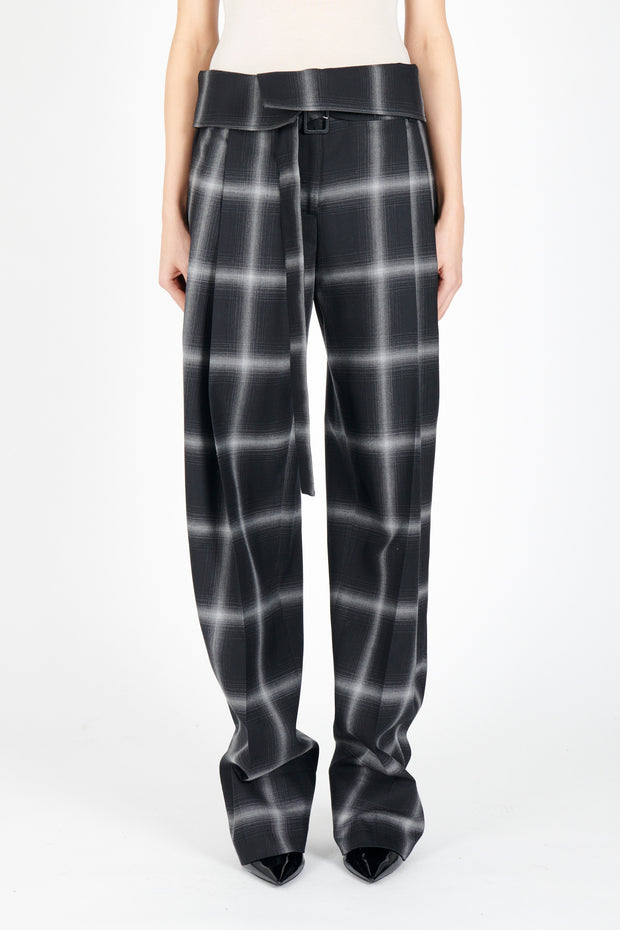 Fold Over Plaid Pant