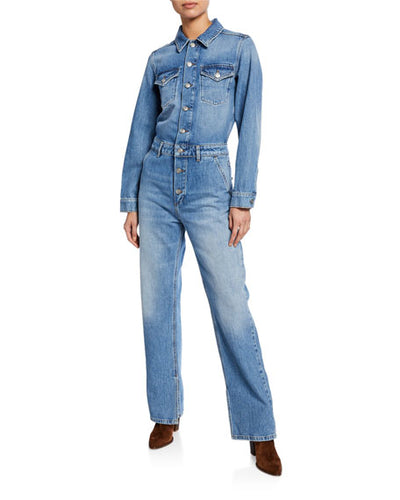 GANNI - Long Sleeve Denim Jumpsuit