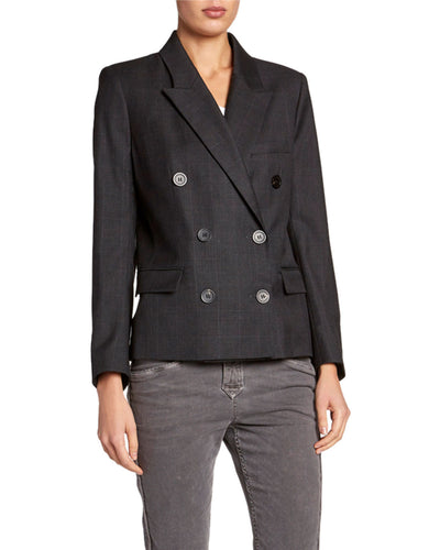 ISABEL MARANT ETOILE - Visby Check Double-Breasted Blazer