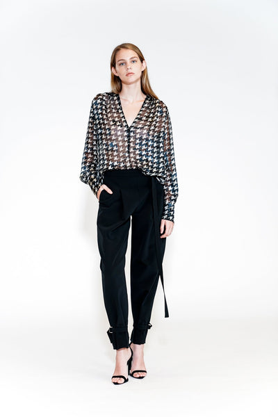 YIGAL AZROUEL - Houndstooth Burnout Blouse