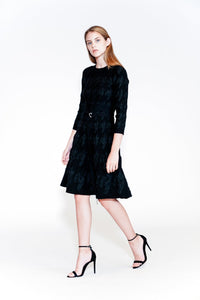 Yigal Azrouël- Houndstooth Intarsia Fit and Flare Dress